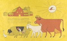 'barnyard parade' by david hile David, Fine Art, Visual Arts