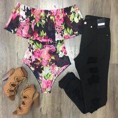 Jewly Floral Bodysuit Floral Bodysuit, Mesh Fabric, Wetsuit, Off The Shoulder, Swimwear, Collection, Products, Fashion, Scuba Wetsuit