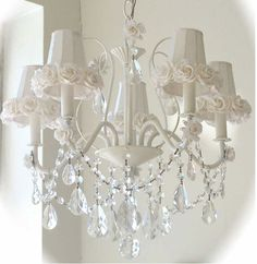 Shabby Chic White Rose Chandelier