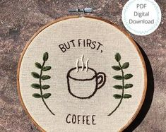 Embroidery pattern coffee | Etsy Hand Embroidery Patterns Flowers, Simple Embroidery, Embroidery Hoop Art, Cross Stitch Embroidery, Embroidery Designs, Embroidery On Clothes, Embroidery For Beginners, Creations, Coffee Punch