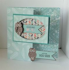 'Older & Wiser' handmade cut away card made with the Papermania Owl Folk collection.