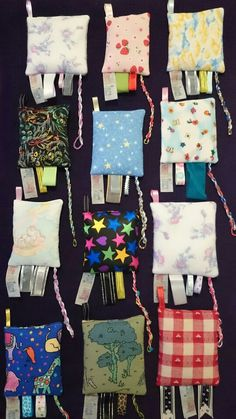 Lavender/Wheat fiddle bags with taggies,  ideal for sensory seekers and for kids to destress