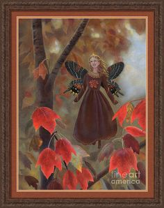 """""""Rhiona in the Maple Tree"""" (Kind Enchantments Fairy Series #05) is a print on Fine Art America.  Click the image to see it, then choose your own mat, frame, and print size. This ornate CLM5 frame has a Chocolat-Cocoa finish and is 1.75 inches wide (in the """"Brown"""" drop-down menu). Print size as shown is 22 x 30 inches, with 1.5 inches mat of color Redwood, plus an inner mat of Mandarin color. ☺ Imaginative Realism, Fantasy Art © Nancy Lee Moran #fairy #autumn #fantasy #princess #smile…"""