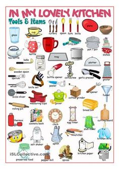 A pictionary on kitchen items and tools. - ESL worksheets