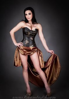 Custom Size Brown and Copper Steampunk Burlesque corset with train prom dress available in sizes small-XL by Glamtastik - Steampunk Steampunk Clothing - Smoked Glass Goggles