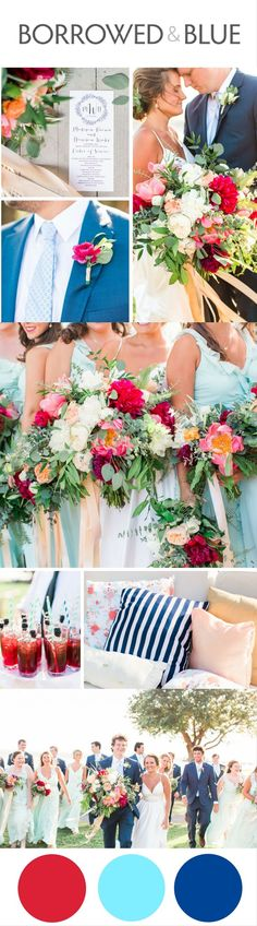 Cranberry, aqua, and cobalt blue wedding palette, red white and blue wedding colors, Fourth of July, wedding color scheme, summer colors // Jessi Nichols Photography  Pin this to your inspiration board, or check out the full wedding feature on www.borrowedandblue.com