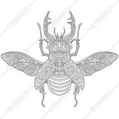 Vector: Zentangle stylized cartoon rhinoceros beetle, oak