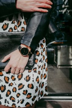 MVMT watch and leopard print dress. Perfect for a spring date night.