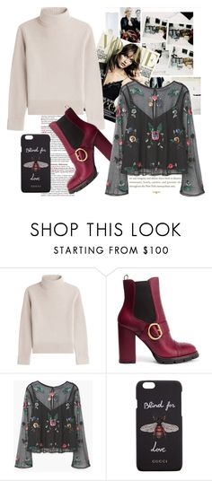 """""""Leather Platform Boots"""" by dreammints ❤ liked on Polyvore featuring Longchamp, Vanessa Seward, Prada, MANGO, Gucci, Leather, Sweater, blouse and PlatformBoots"""