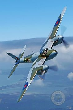 The de Havilland DH.98 Mosquito - a British multi-role combat aircraft w a 2 man crew that served during the WWII & the postwar era. The Mosquito entered production in 1941 & was 1 of the fastest operational aircraft in the world. Used as low- to medium-altitude daytime tactical bomber, high-altitude night bomber, pathfinder, day or night fighter, fighter-bomber, intruder, maritime strike aircraft & fast photo-reconnaissance aircraft.