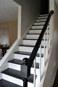 Love the black steps with white risers.Like this look, but I would do dark brown instead of black.