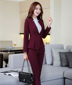 AidenRoy Formal Wine Red Blazer Women Business Suits with Pant and Jacket Sets Ladies Office Uniform Designs Styles Stylish Work Outfits, Office Outfits, Classy Outfits, Blazers For Women, Suits For Women, Clothes For Women, Corporate Attire Women, Look Office, Office Style