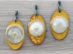 Small Dandelion pendant Real dried by CreationsOfTrueFairy on Etsy