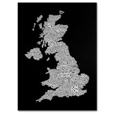Trademark Fine Art 16 in. x 24 in. UK Cities Text Map 6 Canvas Art-MT0255-C1624GG - The Home Depot