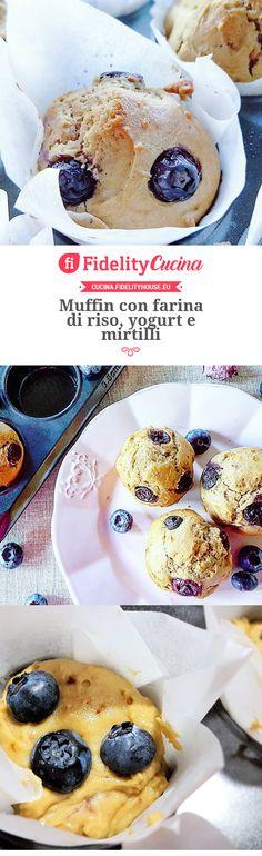Muffin con farina di riso, yogurt e mirtilli