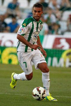 Fausto Rossi of Cordoba CF controls the ball during the La liga match...
