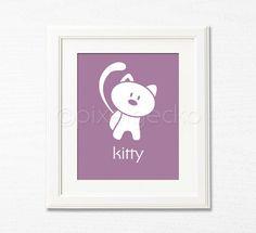 Kitty Nursery Art Print - 8x10 - Kids Room Decor, Children's Wall Art, Girl's Room Decor - Purple - Cat, Pet friends