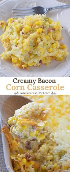 Creamy Bacon Corn Casserole, made with simple ingredients like cream cheese and cornbread mix. So delicious, one of my family's favorite side dish recipes!
