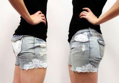Tutorials   Urban Threads: Transform an old pair of jeans into chic lace shorts with a few snips and elegant lace embroidery edging
