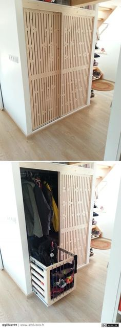 Diy Placards, Sliding Doors, Laundry, Woodworking, Scale, Storage, Inspiration, Furniture, Design