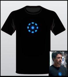 The Avengers T-Shirt Tony Stark Arc Reactor  Iron Man Loki Thor Hulk Tee Sizes: S-XL