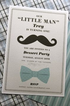 First Birthday Invitation Little Man Mustache Bowties