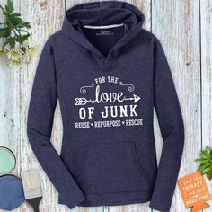 For the Love of Junk French Terry Ladies Hooded Sweatshirt