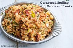 Crockpot Cornbread Stuffing with Bacon And Leeks #Thanksgiving by Savour Fare, via Flickr Stuffing Recipes, Cornbread Stuffing, Crockpot Stuffing, Pear Recipes, Holiday Recipes, Fancy Recipes, Holiday Foods, Holiday Ideas, Dinner Recipes