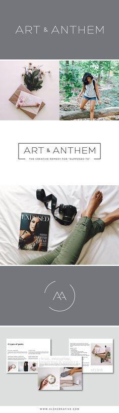 Clean, minimal, modern logo and brand identity for Art & Anthem photographer. Design by Aloe Creative