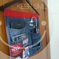 Porta trecos jeans reciclado.