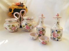 Vintage Ceramic Kitchenware Set With Handpainted Flowers - Teapot, Milk Jug, Cruet Set Vinegar & Oil With Lids And 2 Tiny Sauce Cups by pentyofamelie on Gourmly