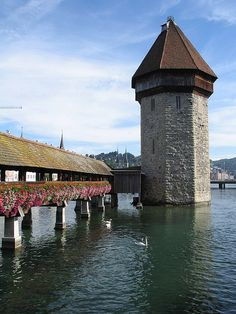 Lucerne in Switzerland, city with Pfister store