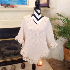 Cream aran color Poncho Misses Lg New Hand Crochet by YarnQueens