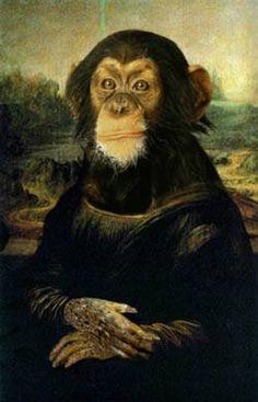 Anthropomorphic, Altered Art. Mona Lisa. Monkey Lisa.