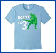 764eda8c4 Mens Kids 3rd Birthday Dinosaur Gift T-Shirt for 3 Year Old Small Baby Blue