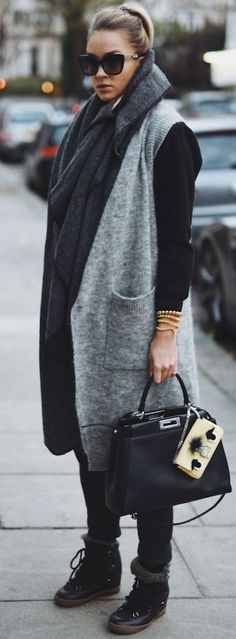 Nina Suess Gray Long Cardi Vest Fall Street Style Inspo #Fashionistas