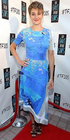 Shailene Woodley in a brushstroke-print Preen T-shirt dress when she kicks off the promo tour for #TheFaultInOurStars in Miami. #TFIOS #Fashion