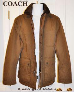 e0f75804eeec Coach Men s Coat Medium Dark Khaki Jacket Utility Outerwear Field