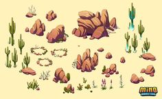MinoMonsters Desert Assets by hellcorpceo on DeviantArt Environment Concept Art, Environment Design, Desert Environment, Game Environment, Prop Design, Game Design, Pixel Art, 2d Game Art, Game Textures