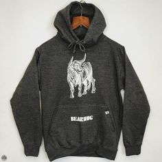 THE BEARHUG CO - Bull Print - Charcoal Hoodie