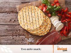 Ένα απλό snack με επιλεγμένα ποιοτικά υλικά, όπως είναι οι πίτες Elviart, μυρίζει φρεσκάδα, προσφέρει απόλαυση και θρέφει τόσο σωστά, που τελικά είναι κάτι περισσότερο από ένα απλό… snack!  #elviart #pitabread #pita #flatbread #souvlaki #delicious #tasty Dairy, Cheese, Food, Meal, Eten, Meals