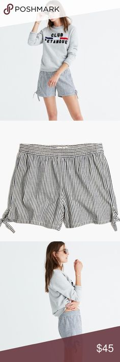 """Madewell Striped Side Tie Pull-on Shorts Comfy and cool  pull-on shorts return with cute side. True to size.  3 1/2"""" inseam. Cotton. Machine wash. Madewell Shorts"""