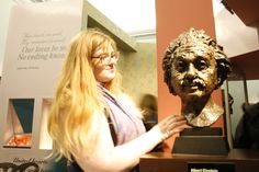 Here we have a photo of a frequent attendee Emily Dace, admiring the finely sculpted work. Image by Jamie Scott