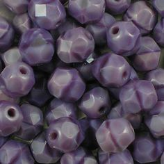 Lavender Coral 6mm top-quality Czech fire-polished facetted glass beads. Slightly sparkly opaque amethyst bead with a darker purple stripe through the middle. UK seller.