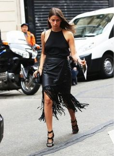 Rock your leather during summer in a fringe with a silk halter camisole. // #Fashion