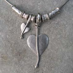 Silver heart leaf necklace 07