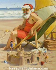 Tropical Christmas, Beach Christmas, Coastal Christmas, Father Christmas, Christmas In July, Christmas Pictures, Christmas Art, All Things Christmas, Vintage Christmas