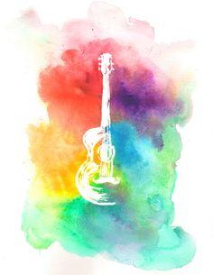 Guitar Watercolor- Acoustic Guitar Rainbow Print