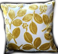"Tache 2 PC 18"" Velvety Golden Boughs Floral Cushion Throw Pillow Cover Shell Set"