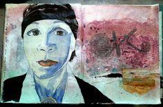 Velvet Cut : : Painting over what didn't work. #artjournal #visualjournal #studio #selfportrait